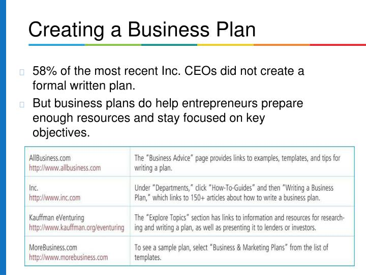 58% of the most recent Inc. CEOs did not create a formal written plan.