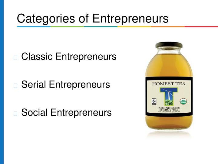 Categories of Entrepreneurs
