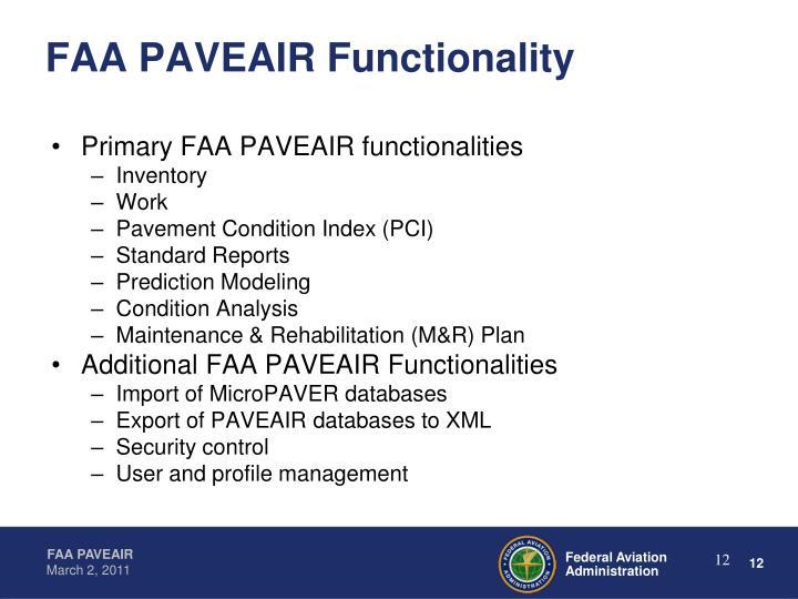 FAA PAVEAIR Functionality