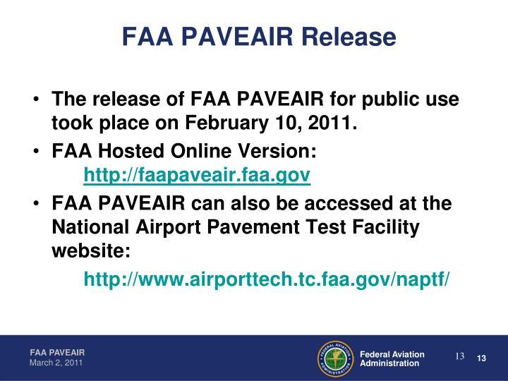 FAA PAVEAIR Release