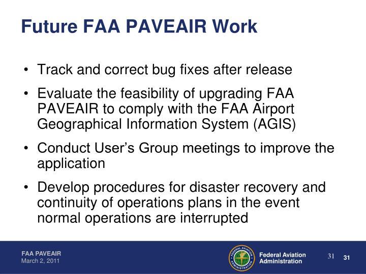 Future FAA PAVEAIR Work