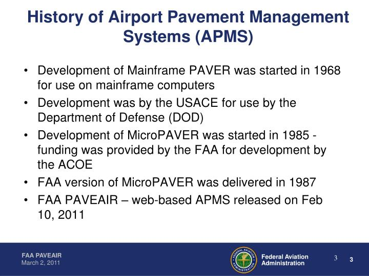 History of Airport Pavement Management Systems (APMS)
