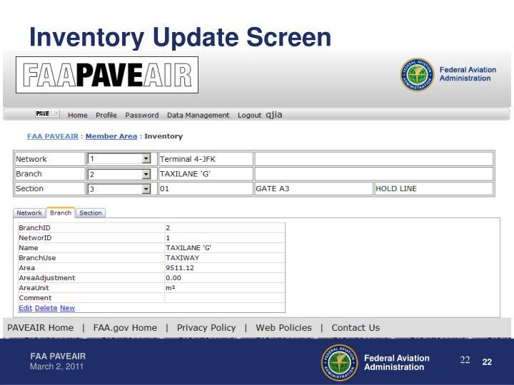 Inventory Update Screen