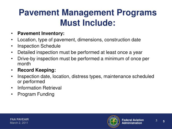 Pavement Management Programs Must Include: