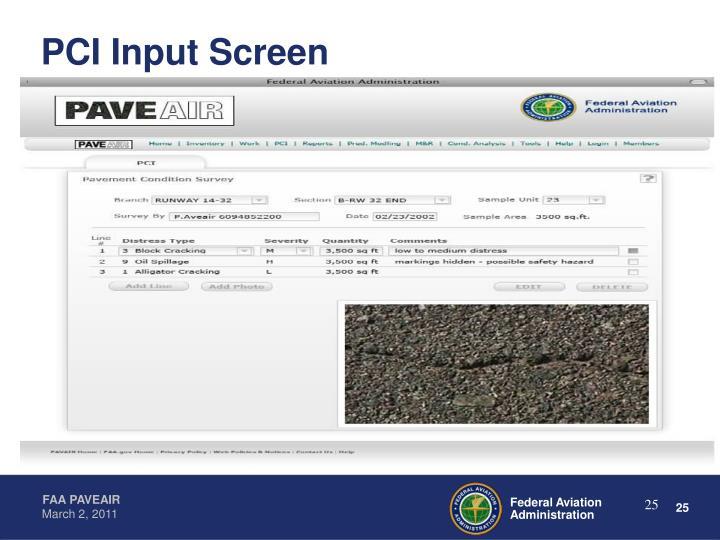 PCI Input Screen