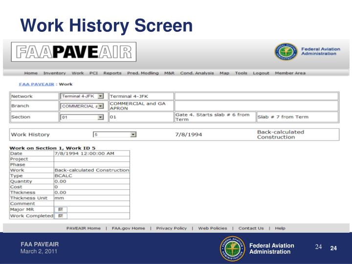 Work History Screen