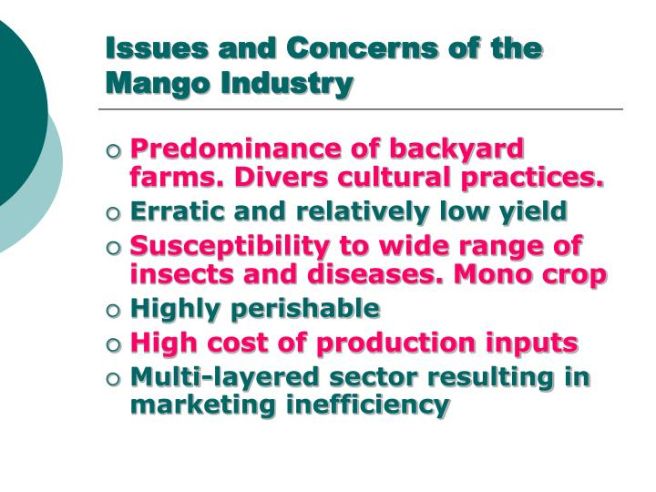 Issues and concerns of the mango industry