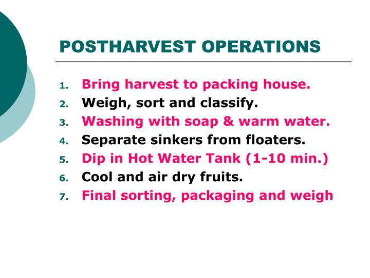 POSTHARVEST OPERATIONS