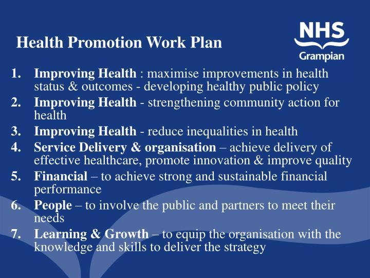 Health Promotion Work Plan
