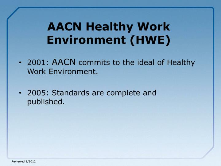 Aacn healthy work environment hwe
