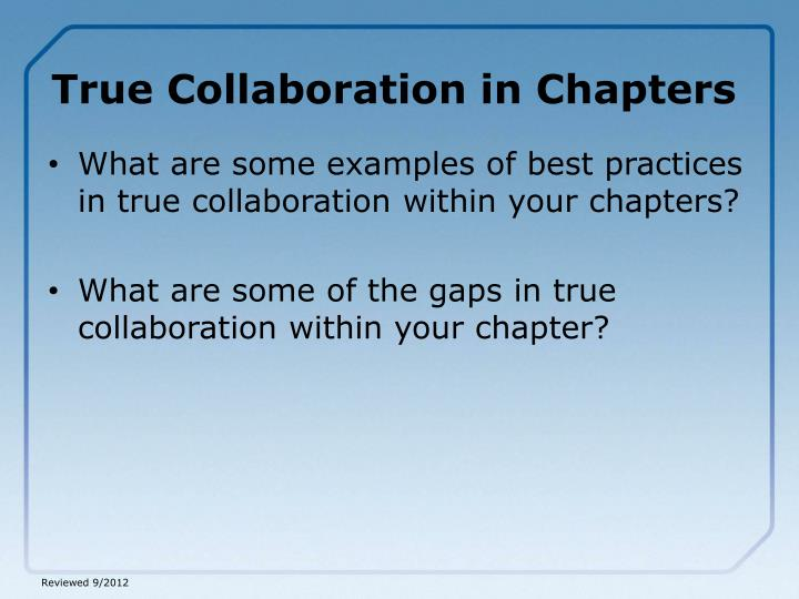 True Collaboration in Chapters