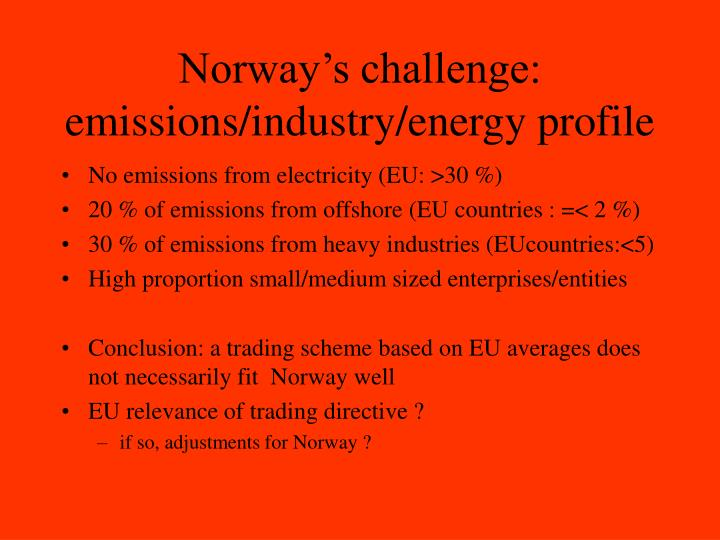 Norway's challenge: emissions/industry/energy profile
