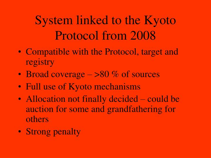 System linked to the Kyoto Protocol from 2008