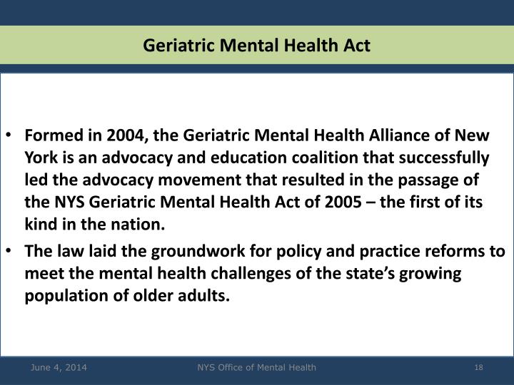 Geriatric Mental Health Act