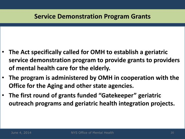 Service Demonstration Program Grants
