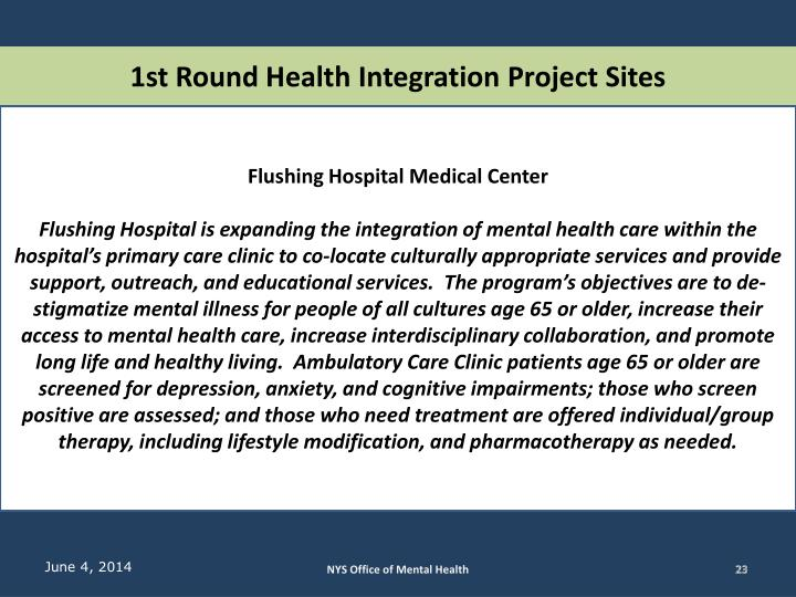 1st Round Health Integration Project Sites