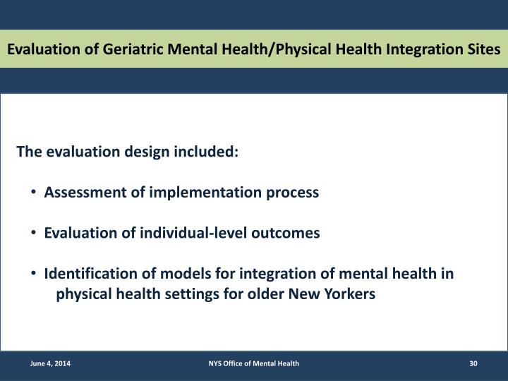 Evaluation of Geriatric Mental Health/Physical Health Integration Sites