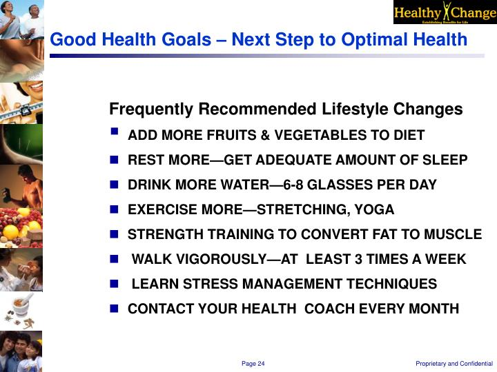 Good Health Goals – Next Step to Optimal Health