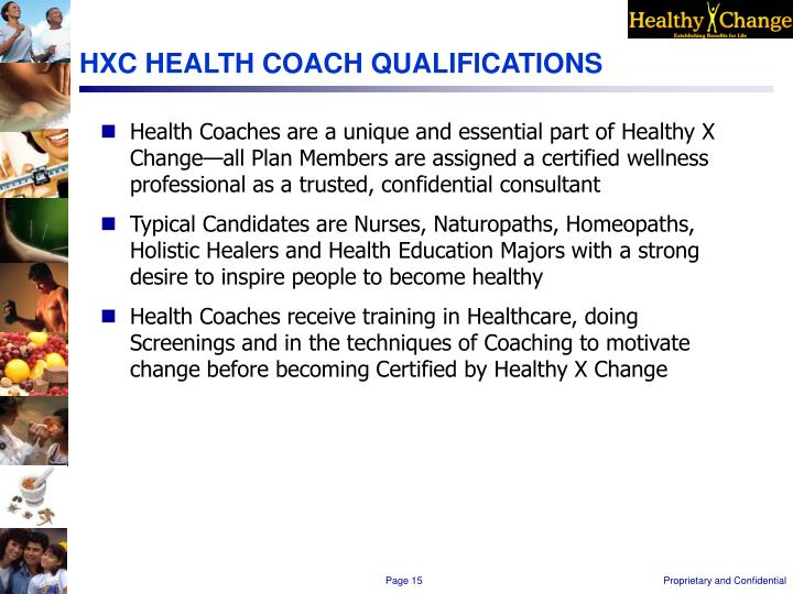 HXC HEALTH COACH QUALIFICATIONS