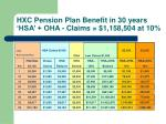 hxc pension plan benefit in 30 years hsa oha claims 1 158 504 at 10