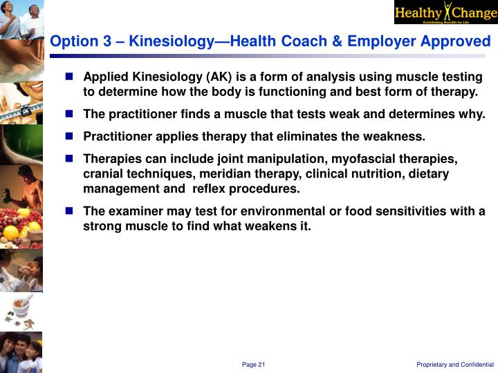Option 3 – Kinesiology—Health Coach & Employer Approved