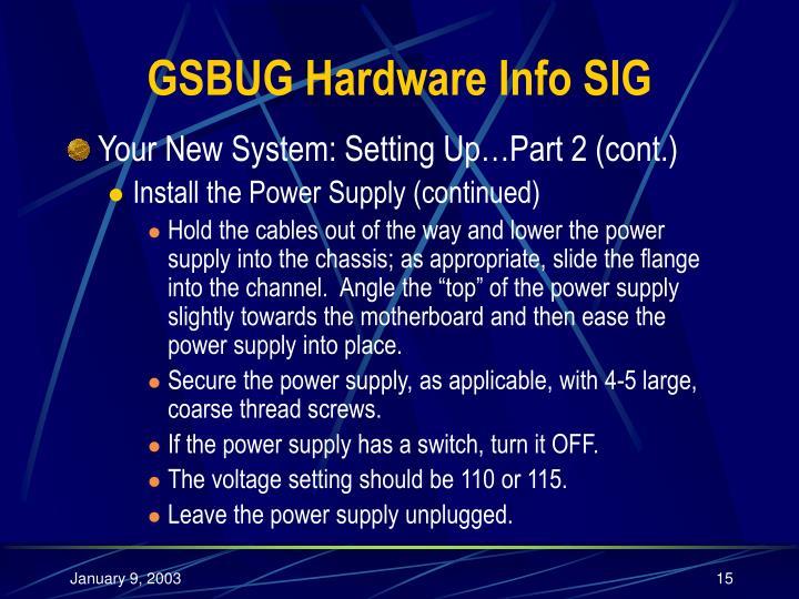 GSBUG Hardware Info SIG