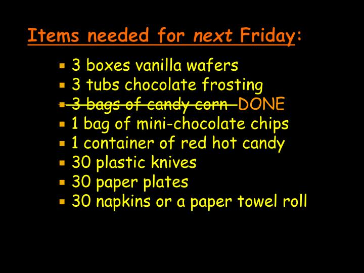 Items needed for