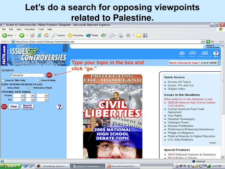 Let's do a search for opposing viewpoints related to Palestine.