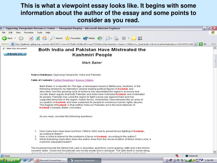 This is what a viewpoint essay looks like. It begins with some information about the author of the essay and some points to consider as you read.