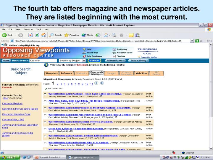 The fourth tab offers magazine and newspaper articles. They are listed beginning with the most current.