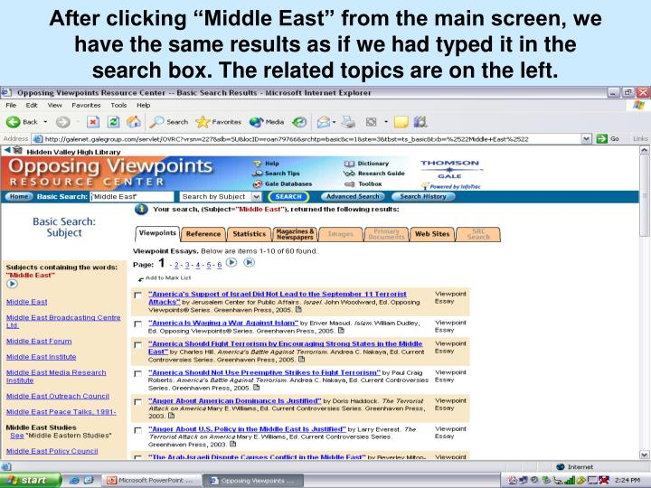 """After clicking """"Middle East"""" from the main screen, we have the same results as if we had typed it in the search box. The related topics are on the left."""