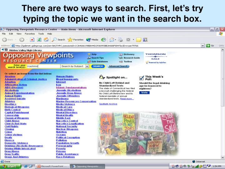 There are two ways to search. First, let's try typing the topic we want in the search box.