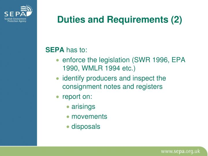 Duties and Requirements (2)