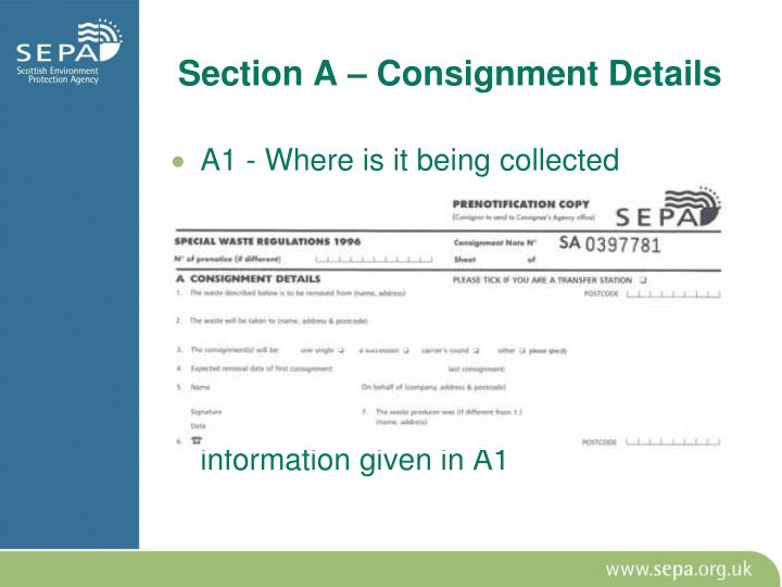 Section A – Consignment Details