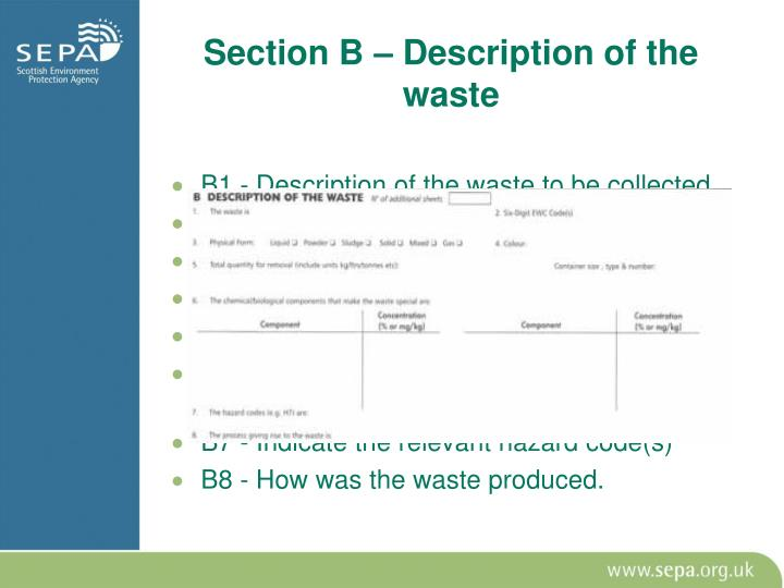 B1 - Description of the waste to be collected