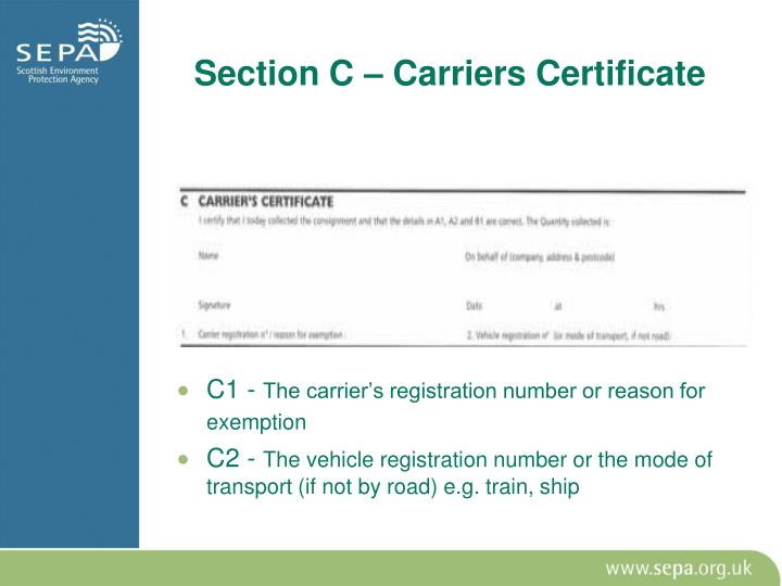 Section C – Carriers Certificate