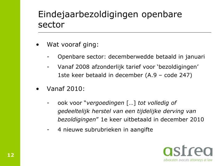 Eindejaarbezoldigingen openbare sector