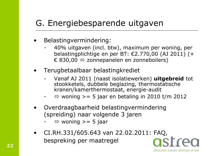 G. Energiebesparende uitgaven