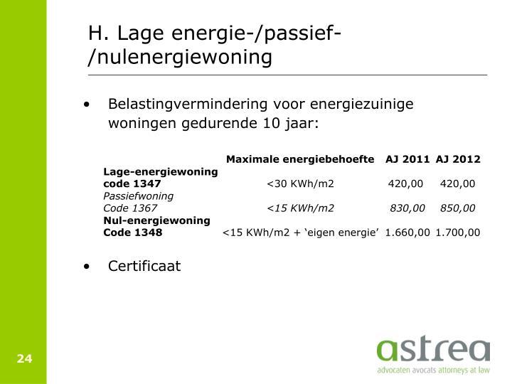 H. Lage energie-/passief-/