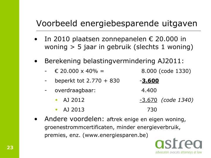 Voorbeeld energiebesparende uitgaven