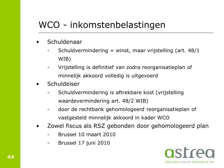 WCO - inkomstenbelastingen