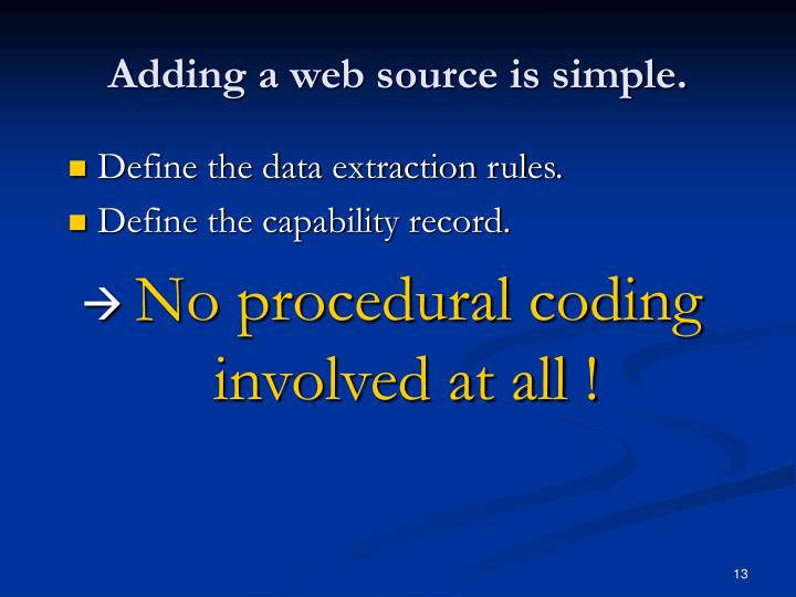 Adding a web source is simple.