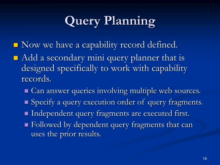 Query Planning
