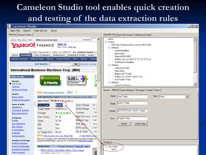 Cameleon Studio tool enables quick creation and testing of the data extraction rules