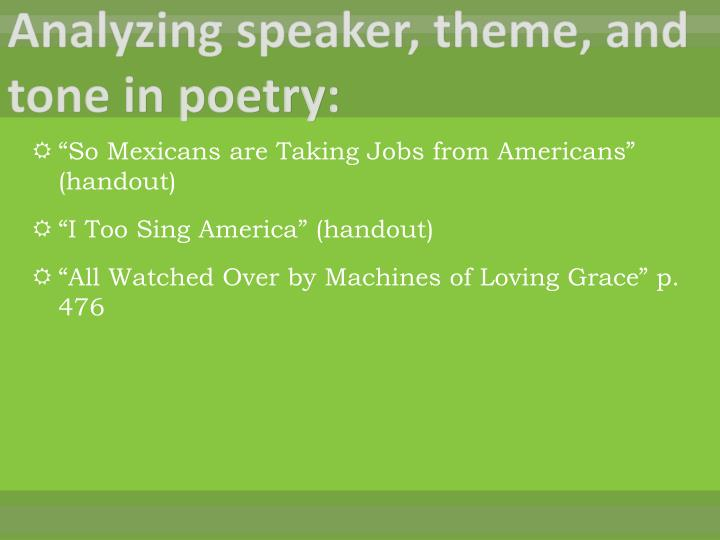 Analyzing speaker, theme, and tone in poetry: