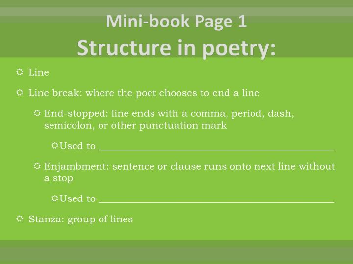 Mini book page 1 structure in poetry