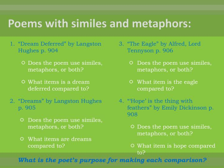 Poems with similes and metaphors: