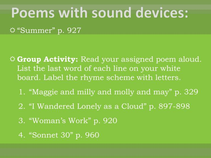 Poems with sound devices: