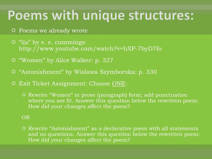 Poems with unique structures