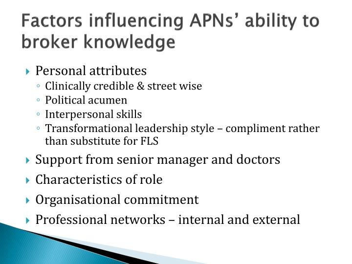 Factors influencing APNs' ability to broker